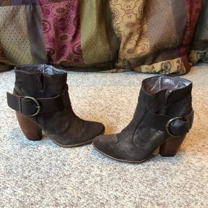 Dolce Vita brown stacked wood heel harness boots